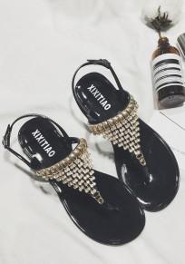 Black Round Toe Flat Metal Rhinestone Buckle Fashion Sandals