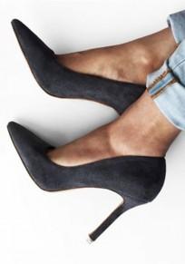 Chaussures en suède bout pointu à talons hauts mode escarpin gris femme