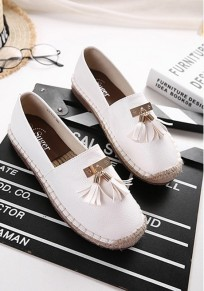 White Round Toe Flat Tassel Casual Ankle Shoes