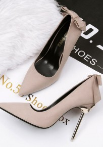 Khaki Point Toe Stiletto Bow Sweet High-Heeled Shoes