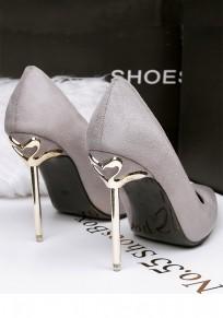Zapatos punto de punta estilete de moda de ante de tacón alto gris