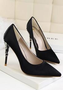 Black Point Toe Stiletto Metal Decoration Fashion High-Heeled Shoes