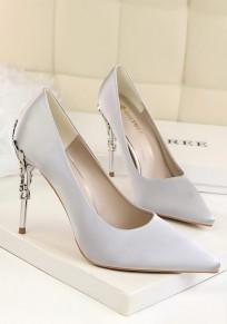 Grau Punkt Zehe Stiletto Metall Dekoration Mode Hochhackig Schuhe