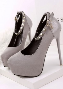 Zapatos puntada redonda estilete remache de empalme de moda de tacón alto gris