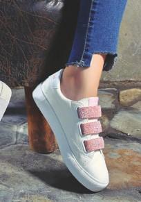 Chaussures bout rond velcro plat décontracté rose