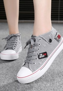 Grey Round Toe Flat Embroidery Appliques Lace-up Casual Canvas Shoes