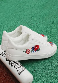 White Round Toe Flat Embroidery Lace-up Casual Shoes
