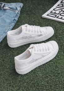 Chaussures bout rond plat grenadine dentellet décontracté toile blanc
