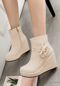 Beige Round Toe Wedges Bow Zipper Casual Ankle Boots