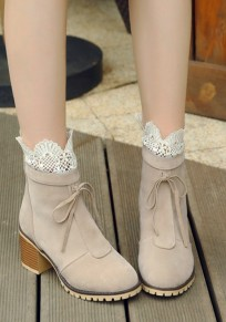Beige Round Toe Chunky Zipper Lace Stitching Casual Ankle Boots