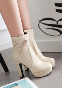 Beige Round Toe Chunky Rhinestone Zipper Casual Ankle Boots