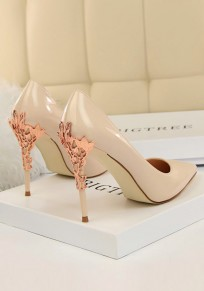 Apricot Point Toe Stiletto Metal Decoration Fashion High-Heeled Shoes