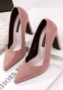 Pink Point Toe Chunky Fashion High-Heeled Shoes