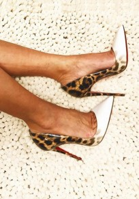 White Point Toe Stiletto Leopard Print Fashion High-Heeled Shoes