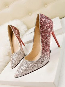 Red Point Toe Stiletto Sequin Fashion High-Heeled Shoes