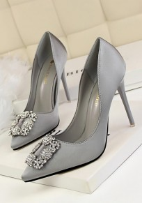 Grey Point Toe Stiletto Rhinestone Fashion High-Heeled Shoes