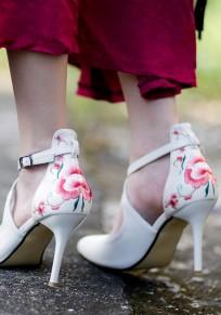 Zapatos estampado de flores punto de punta estilete hebilla de moda de tacón alto rojo
