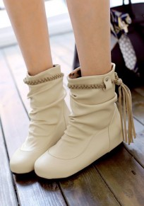 Beige Round Toe Within The Higher Tassel Casual Ankle Boots