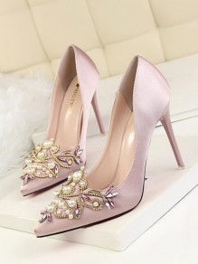 Pink Point Toe Stiletto Rhinestone Pearl Fashion High-Heeled Shoes