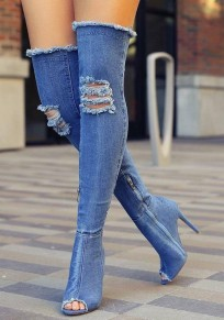 Blue Piscine Mouth Stiletto Cut Out Fashion Over-The-Knee Boots