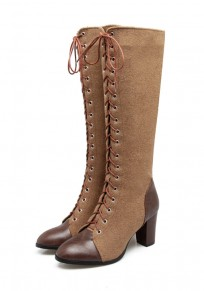 Brown Round Toe Chunky Zipper Fashion Knee-High Boots