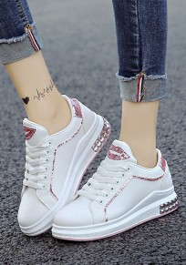 Pink Round Toe Flat Sequin Rivet Casual Shoes