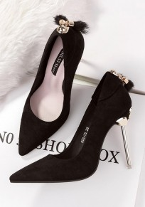 Black Point Toe Stiletto Faux Fur Patchwork Fashion High-Heeled Shoes