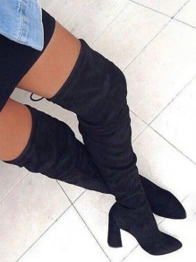 Black Point Toe Chunky Casual Over-The-Knee Boots