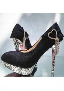 Chaussures bout rond stylet cravate décontracté à talons hauts noir