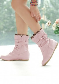 Pink Round Toe Flat Lace Stitching Casual Ankle Boots