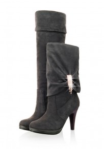 Grey Round Toe Stiletto Rhinestone Casual Knee-High Boots