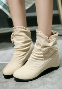 Beige Within The Higher Bow Sweet Ankle Boots