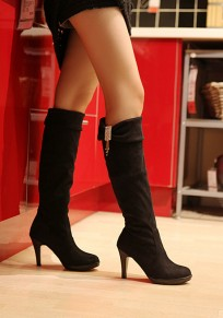 Black Round Toe Stiletto Rhinestone Casual Knee-High Boots