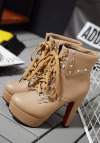 Apricot Round Toe Chunky Rivet Fashion Ankle Boots