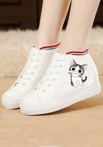 Chaussures bout rond chat plat décontracté blanc
