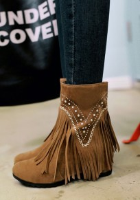 Yellow Within The Higher Rhinestone Tassel Fashion Ankle Boots