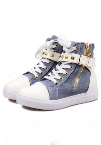 Chaussures bout rond rivet plat décontracté tissu bleu