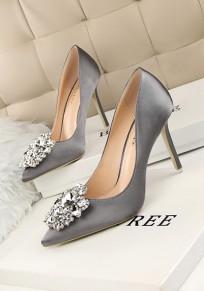 Grey Point Toe Stiletto Rhinestone Fashion Homecoming Prom High-Heeled Shoes