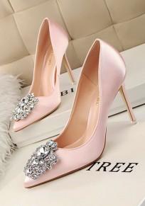Zapatos punto de dedo del pie estilete diamante de imitación moda de tacón alto rosa