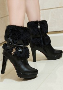 Black Round Toe Chunky Bow Faux Fur Patchwork Casual Ankle Boots