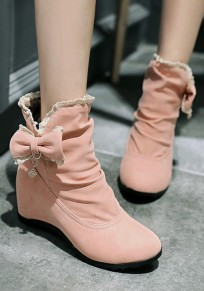 Pink Within The Higher Bow Sweet Ankle Boots