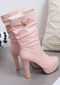 Pink Round Toe Chunky Rhinestone Casual Mid-Calf Boots