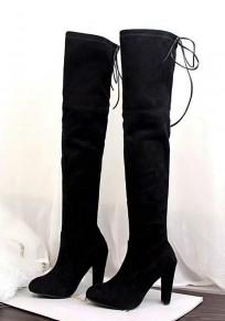 Bottes bout rond grossier lacé décontracté au-dessus du genou noir