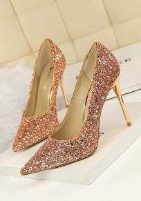 Zapatos punto de punta estilete moda lentejuelas de tacón alto champán