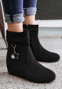Black Round Toe Within The Higher Metal Decoration Casual Boots