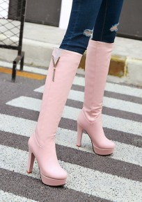 Pink Round Toe Chunky Metal Decoration Casual Knee-High Boots