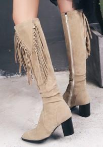 Botas de rodilla-altas dedo del pie rojoondo borla cremallera casuales beige