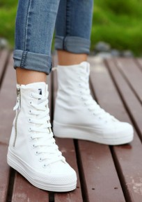 White Round Toe Heavy-Soled Zipper Casual Ankle Boots
