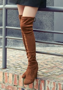 Brown Round Toe Chunky Casual Over-The-Knee Boots