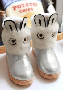 Silver Round Toe Flat Faux Fur Patchwork Casual Ankle Boots